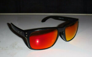 OAKLEY HOLBROOK MATTE BLACK & RED FIRE IRIDIUM PRIZM LENSES SUNGLASSES L@@K