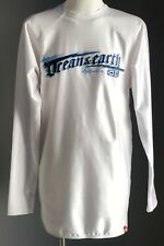 Pre-owned OCEAN EARTH White Long Sleeve Rash Top w Motif Print Size M 12-14y.o