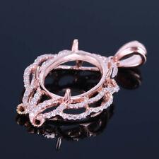 Oval 10K Rose Gold Genuine Diamonds Necklace Pendant Engagement & Wedding &Party