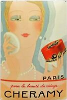 PLAQUE METAL publicitaire vintage maquillage CHERAMY - 30 x 20 cm