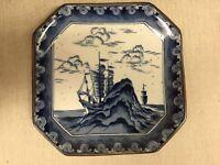 "Vintage Japanese Round Square Blue & White Plate, 7 1/2"" x 7 1/2"""