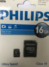Philips 16GB Micro SD (SDHC) Memory Card, Class 10, with full size SD adapter