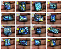 AA++ Natural Multi Flash Carving Labradorite Octagon Loose Gemstone Cabochon