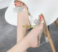 Womens Clear Transparent Open toe High Wedge Heel Party Shoes Chic Sandals Sz