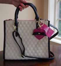 NWT Betsey Johnson Triple Compartment Swag Heart Cream Black Bright Pink Tote