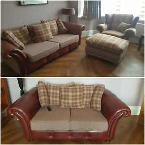Tetrad Leather Tweed 4 piece Suite. 2 x Sofa Chair Footstool