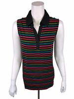 Cuddl Duds Women's Pullover Flexwear Polo Tank Top Black Multi Stripe 1X Size