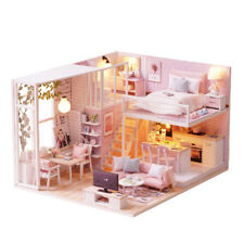 DIY Quiet Life Miniature Wooden Doll House Furniture Model LED Light Toys Gift