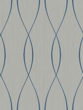 Tapete, Designtapete, Wildseide, Motiv, retro-oval, Schimmer, Silber, Royalblau