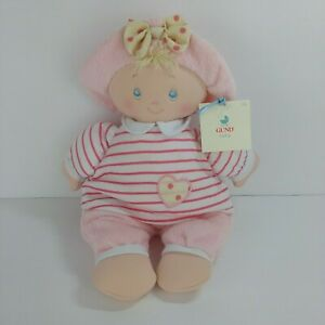 """Gund 058069 NWT Soft 12"""" Sweet Dolly Girl Pink Baby Doll Lovey Hat Heart Plush"""