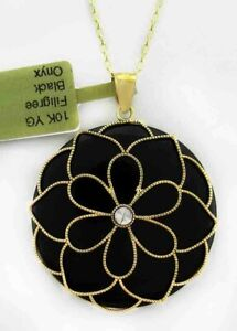 GENUINE 34.70 Cts BLACK ONYX FLOWER PENDANT 10K GOLD ** New With Tag **