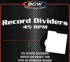 75 New 45 RPM Record Dividers With Index Tab for 7 Inch Vinyl Storage Boxes