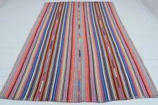 "Anatolia Kilim Turkish Rug Large Tribal Stripe Wool Rug Handmade Carpet 74""x101"""