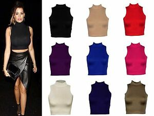 Ladies Womens SLEEVELESS Turtle POLO NECK Crop Top VEST Size 8-14 Lot A2