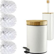Badeimer und Klobürste [ Set aus Bambus Holz ] WC Garnitur Bürste Kosmetikeimer