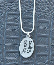 Salty Souls Dog Tag Sterling Silver Necklace Beach Salt Surfing Fishing Life