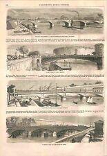 Paris Ponts Pont d'Austerlitz, d'Arcole , des Invalides & de l'Alma GRAVURE 1856