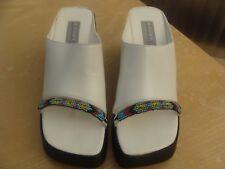 BRONX Wigwam White Leather Wedge Mules Size 38 New Boho Hippy