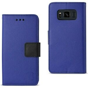 For Samsung Galaxy S8 Active Case Leather Wallet Cover Side Pockets & Stand Blue