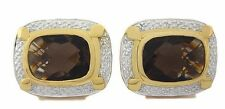Natural Gem Stone Smokey Quartz 925  Sterling Silver Men's Cufflinks Vermiel