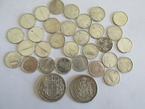 Lot Of $4.00 Face Value .800 Canada Silver (30) Dimes (2) Half Dollars 67 under