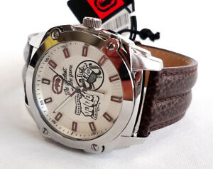 RHINO BY MARC ECKO Men's Watch Stainless Steel Back/Leather Band #E8M024MV - New