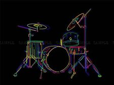 MULTCOLOURED DRUM SET DRUMS DRAWING STICKS PHOTO ART PRINT POSTER BMP521A