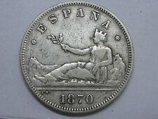 1870 DEM * 18- 75 REPUBLICA / REPUBLIC , 2 DOS PESETAS SPANISH SPAIN COIN SILVER