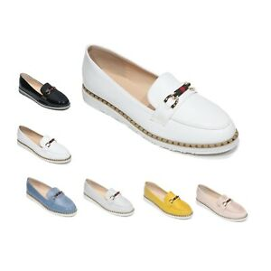 LADIES WOMENS FLATS SLIP ON LOAFERS WORK OFFICE BUCKLE PUMPS COMFY SHOES Size