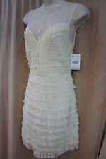 Free People Dress Sz 6 Ivory Tiered Nylon Light Weight Cocktail Party Dress