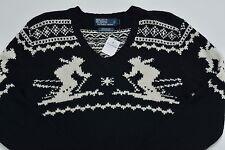 Men's POLO RALPH LAUREN Black Cotton Cashmere + Fair Isle Ski Sweater Small S