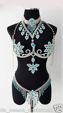 Da NeeNa BRA7 Stripper Burlesque Large Crystal Bra Belt Skirt Costume Set
