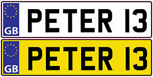 2x PERSONALISED NUMBER PLATES for kids ride on car Sticker Any country 140x35mm*
