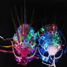 Women Venetian LED Mask Masquerade Fancy Dress Party Princess Feather Masks