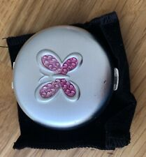 Matt Silver Round Chrome & Pink Diamante Butterfly Handbag Compact Mirror