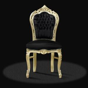 Barock Stuhl schwarz gold Stof luxus design Esszimmer Sitzmöbel Deko Büro Lounge