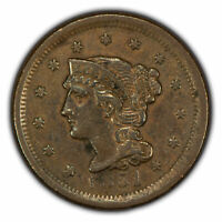 1851 1c Braided Hair Large Cent - XF+ Details - SKU-Y2824