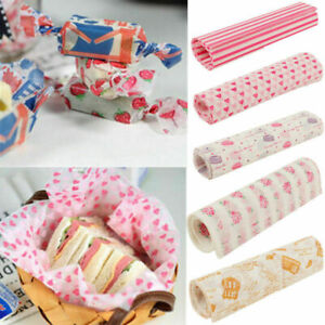 50Pcs Disposable Food Wrapping Wax Paper Hamburger Sandwich Bread Candy Packing