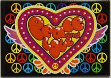 PEACE & LOVE coeur symboles paix multicolores magnet 7.7x5.5 cm