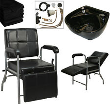 Round Ceramic Shampoo Bowl Shampoo Chair Leg Rest Barber Beauty Salon Equipment