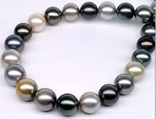 "HUGE 18""11-13MM NATURAL SOUTH SEA GENUINE WHITE BLACK GRAY PEARL NECKLACE 14K"