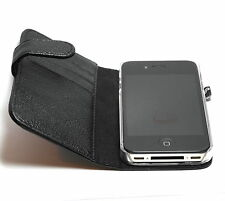 Premium Pu Leather Apple iPhone 4 / 4s Folio Case with Microfiber Lining - Black