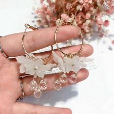 Luxury Women Drop Earrings Crystal Tassel Dangle Acrylic Flower Jewelry Gift JT