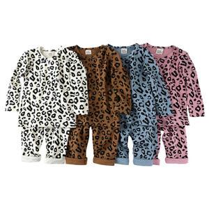 Kids Girls Boys PJs Leopard Stylish Color Cotrast Pajamas Set Age 1-6 Years