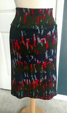 LulaRoe Cassie Skirt, XL,Dark Olive, Light & Dark Blue & Red, NWT