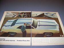 VINTAGE..1969 PONTIAC FIREBIRD TRANS AM..2-PAGE COLOR ORIGINAL SALES AD..(626K)