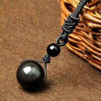 Women Nature Black Obsidian Stone Lucky Bead Ball Pendant Necklace Men Jewelry