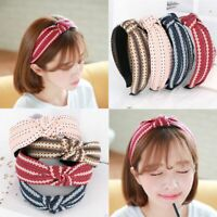 Wide Bow Washing Hair Band Hand-knitted Fabric Knotted Headband Woman Headwear G