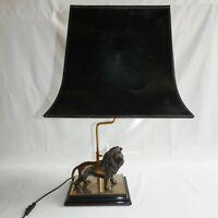 Lampe Lion en Bronze Deknudt 1970 Hollywood Regency Belgium Charles Jansen
