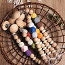 Natural Beech Wood Bead Baby Sensory Pacifier Chain Clip Toy Dummy Nipple Holder